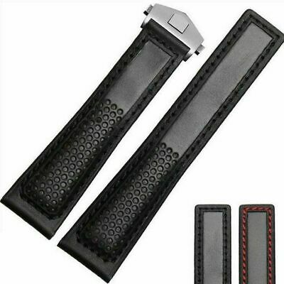 7179380630b Racing Perforated Black bracelet FOR TAG Heuer leather band 22MM Monaco  Carrera