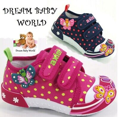 BABY Canvas girls shoes size UK 3 - 7 TRAINERS Real leather insoles KIDS BOX