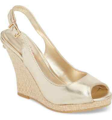 458327d861 New Lilly Pulitzer Kristin Leather Woven Wedge Sandals Gold Metallic Size 9  $198