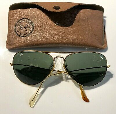 7cd888345b41 Vintage RAY BAN Bausch Lomb B&L 62MM 62/14 GOLD AVIATOR SUNGLASSES and CASE