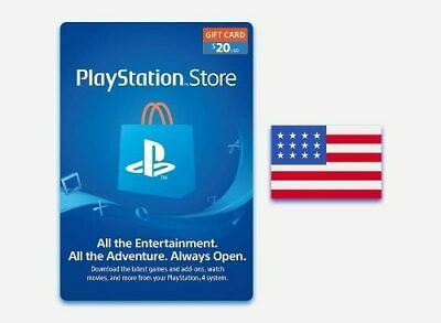 Playstation Network $20 USD 20 Dollar PSN US Store Card - Digital Code PS4 PS3