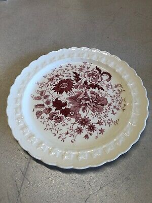 """Taylor Smith Vintage Dinner Plate Red 10"""" Floral Flowers"""