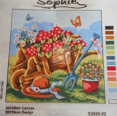 WHEELBARROW FULL OF FLOWERS - Tapestry to Stitch (NEW) by SOPHIE