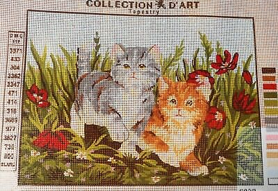 KITTENS IN THE FLOWERS- Tapestry/Needlepoint to Stitch (NEW) by COLLECTION D'ART