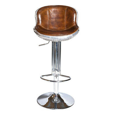 The Baron X2 Aluminium and Brown Leather Bar Stool