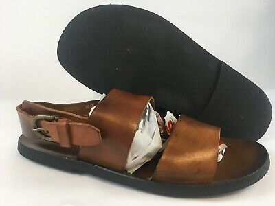 584c84b21a20 Mercanti Fiorentini Mens Brown Leather Roman Strap Sandals Made in Italy  Size 9