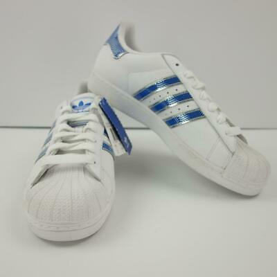 adidas superstar mens white and blue