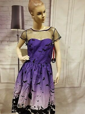87587d342ae43 Hell Bunny Purple Halloween Haunt Gothic Retro 50 s Dress Size Small Pin Up  Bats