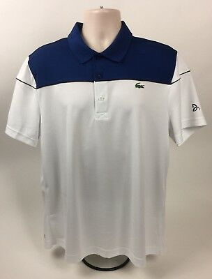 02af807e Lacoste Sport Tennis Novak Djokovic Ultra Dry White/Blue Polo Shirt Size: 6/