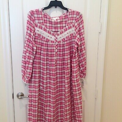 NWT EILEEN WEST S NIGHTGOWN 100% COTTON JERSEY LONG SLEEVE Blue ... c483d3957