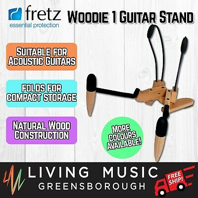 NEW Fretz 'Woodie 1' Wooden Folding Acoustic Guitar Stand (Natural)