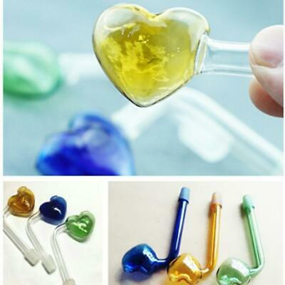Portable Glass Heart-shaped Tobacco Smoking Pipe Hand Pipes RNNR 02