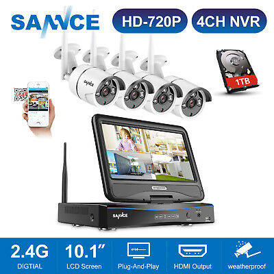 "SANNCE HD 720P Wireless Security IP Camera System 4CH 10.1"" LCD Monitor NVR 1TB"