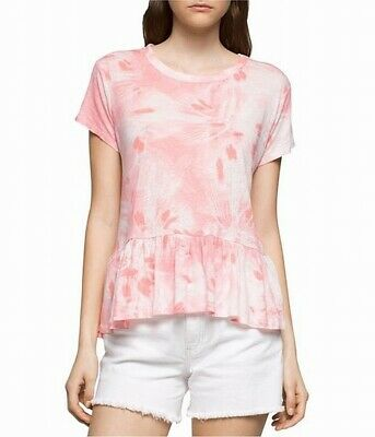 d8f85dab1c378 Calvin Klein NEW Pink Womens Size Small S Printed Peplum Knit Top  49- 130