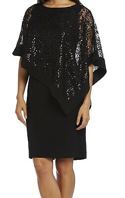 065a0f3cdfd95 R M Richards NEW Deep Black Womens Size 16 Sequin-Cape Sheath Dress  79- 395