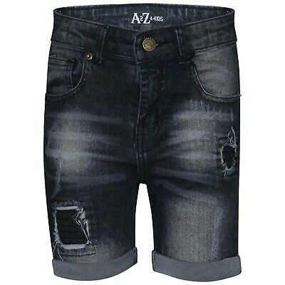 Kids Boys Shorts Black Denim Ripped Chino Bermuda Jeans Knee Length Pant 5-13 Yr