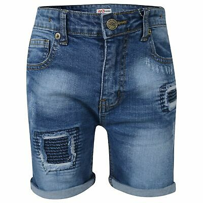 Kids Boys Shorts Mid Blue Denim Ripped Chino Bermuda Jeans Knee Length Pant 5-13