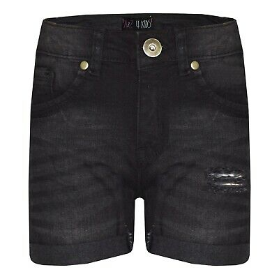Kids Boys Shorts Denim Ripped Black Chino Bermuda Jeans Short Half Pants 5-13 Yr