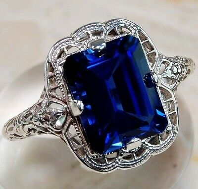 Huge Natural 3.5Ct Tanzanite 925 Silver Ring Women Wedding Engagement Size 5-12
