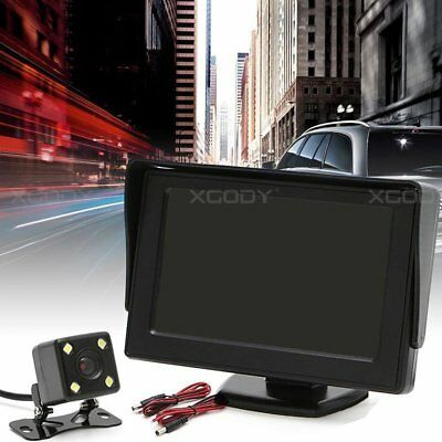 """Wired Reverse 4 LED Camera + 4.3"""" LCD Monitor Display Car Rear View Wide Angle"""