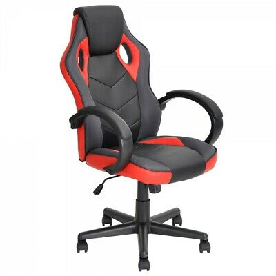 High-Back PU Leather Gaming Chair Reclining  Computer Chair Office Chair Red
