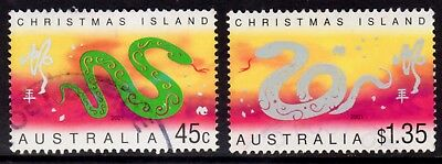 2001 Christmas Island Lunar New Year of the Snake Pair, Used