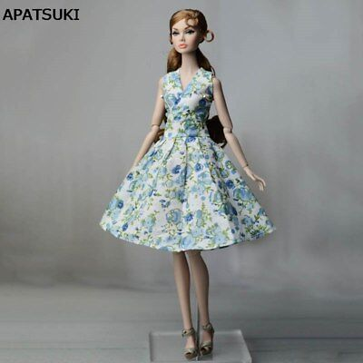 Blue Countryside Floral Dress For 11.5inch Doll Clothes For 1/6 Dolls Outfits
