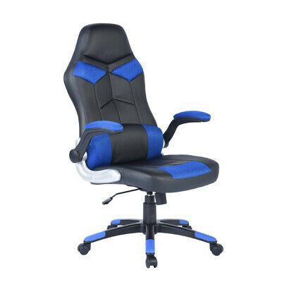 Flipped Up  Armrests Gaming Chair Reclining  Computer Chair Office Chair Blue