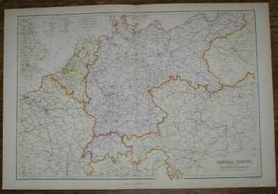 Map:1884 Blackie's Map Central Europe, Principal Railways & Political Boundaries