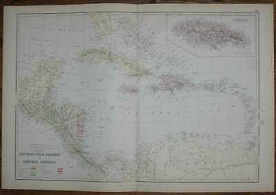 Map: 1884 Blackie's Map of The West India Islands and Central America