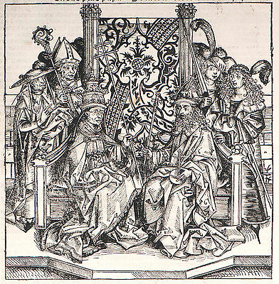 Schedel Weltchronik, Pope and Emperor - Woodcut 1493, Graphics Graphic
