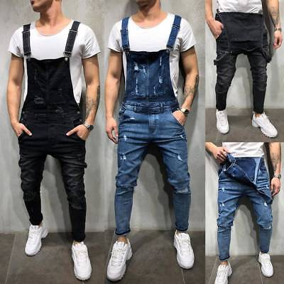 Men's Ripped Denim Jeans Dungarees Overalls Bib And Brace Work Pants Trousers