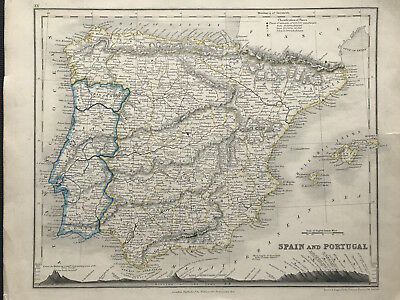 Antique Map SPAIN PORTUGAL c1850 by Orr engraved by John Dower original color