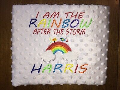 Personalised Blanket. Baby Gift. Rainbow Baby. Storm. Embroidered.