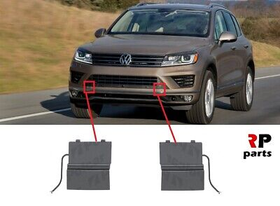 Pair Front Bumper Tow Hook Eye Cover Cap for VW Touareg 2011-2014