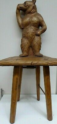 Antique Black Forest Carved Bear Chair Stool Early Carving Wooden Collectors