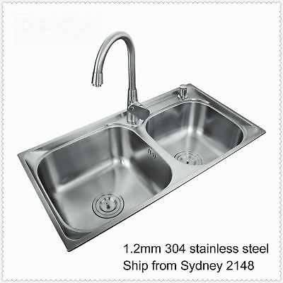 DUAL DOUBLE KITCHEN SINK BOWL LAUNDRY SINK 304 STAINLESS STEEL +STRAINER 75X40cm