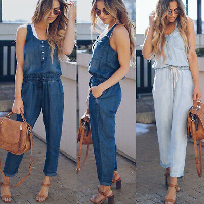 4585f59a92 Summer Womens Casual Denim Jumpsuit Ladies Evening Party Long Playsuit Size  6-16