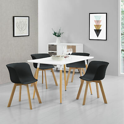 [en.casa]® Dining Table with 4 Chairs WHITE/BLACK 120x70cm Kitchen