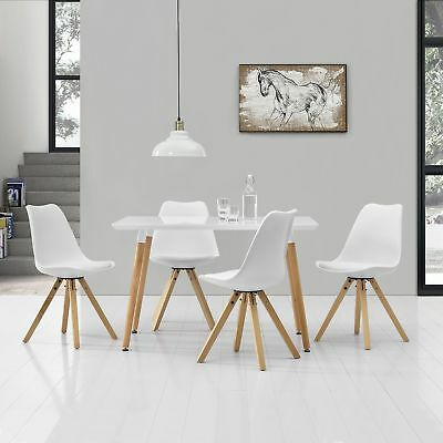 [en.casa] Dining Table with 4 Chairs WHITE lacquered 120x70cm SET