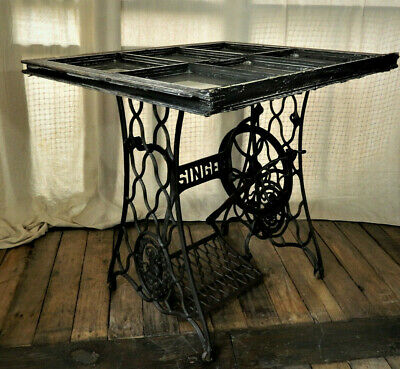 Vintage Singer sewing machine treadle table with Antiqued multi pane window top