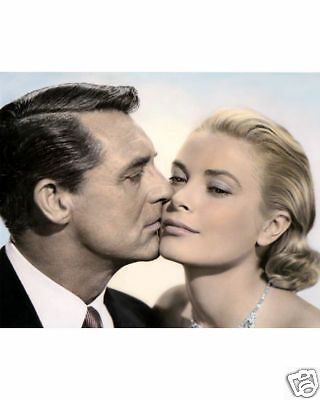 CARY GRANT GRACE KELLY TO CATCH A THIEF 1955 ACTORS 8x10 HAND COLOR TINTED PHOTO