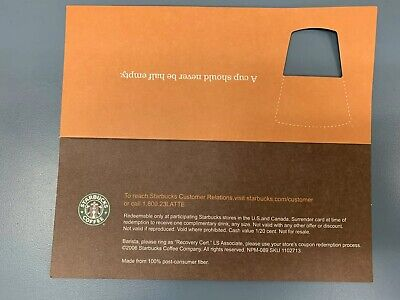 10 STARBUCKS Recovery Drink Card Voucher For A Free Drink Any Size!