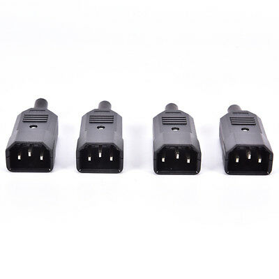 4PCS IEC C14 Male Inline Chassis Socket Plug Rewireable Mains Power Connector Pe