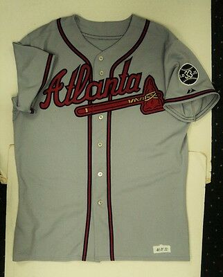 51e1a4533 2007 Edgar Renteria Braves Game Used Jersey Autographed - TODAYs FLASH SALE