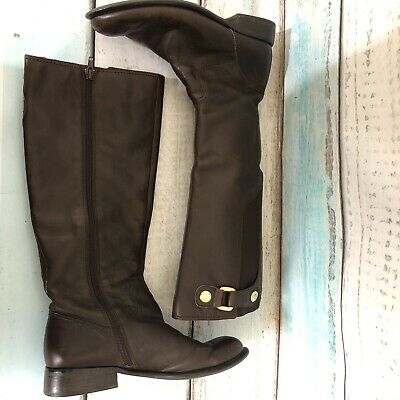 76c283ca55f Franco Sarto Riding Boots Brown Leather Zip Knee High Style L-Ranger Size 7m