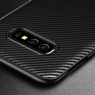 Case For Samsung Galaxy S10 Plus Luxury Silicone Carbon Fiber Ultrathin Cover