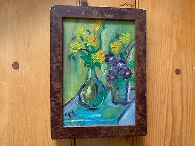 "Vintage Original Signed Flower Daffodil Oil Painting Framed 8.5"" Gloria Grayson"