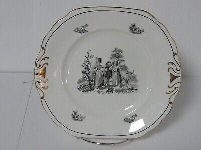 Royal Chelsea Black on White Bone China Dish