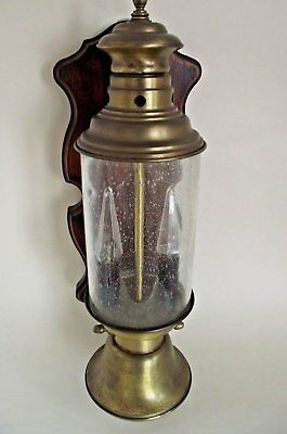 Unusual Antique French Brass Wall Lantern With Bubble Glass on Wooden Mount 602